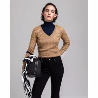Image of Stretch Cotton Cable V-Neck Jumper by GANT
