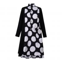 Image of Dot A-line Shirtdress in BLACK from ALEMBIKA