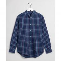 Image of Regular Fit Check Cotton Linen Shirt by GANT