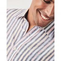Image of SHORT SLEEVE MULTI STRIPE LINEN SHIRT by CREW